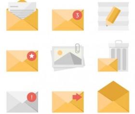 Yellow envelopes icons set