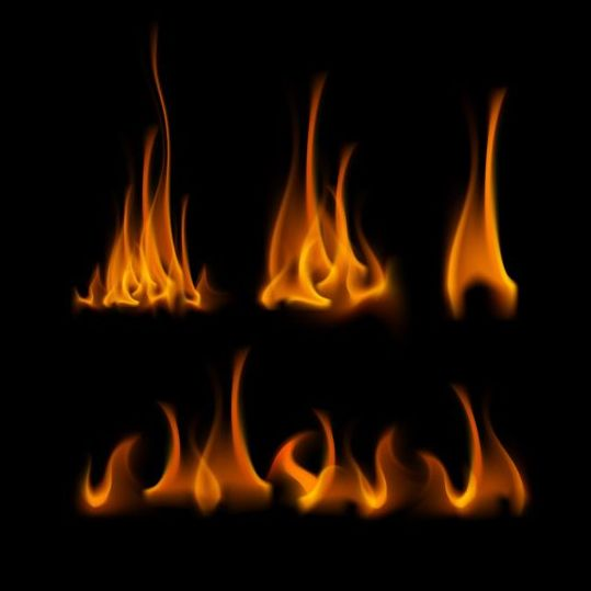 Yellow fire flame vector set 01