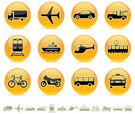 Yellow round transportation icons vector