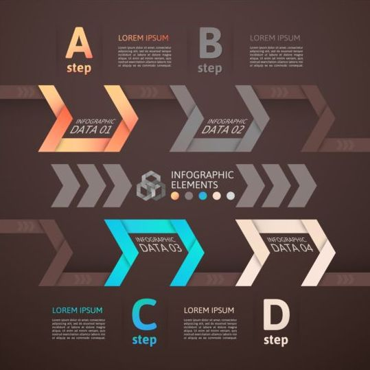 brown infographic with origami vectors material 05