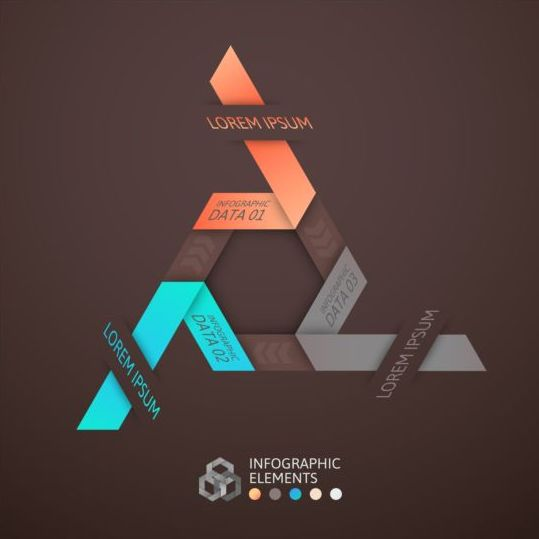 brown infographic with origami vectors material 09