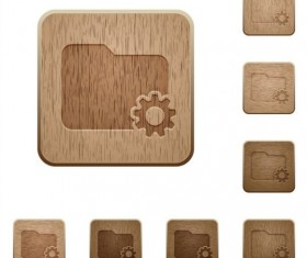 folder settings wooden icons set