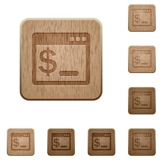 os terminal wooden icons set