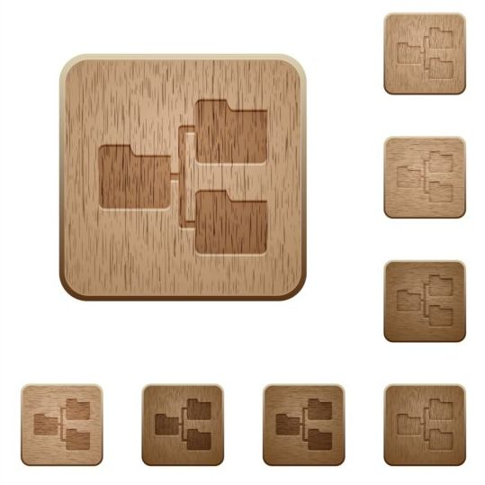shared folders wooden icons set