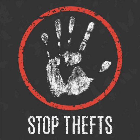 stop thefts sign vector