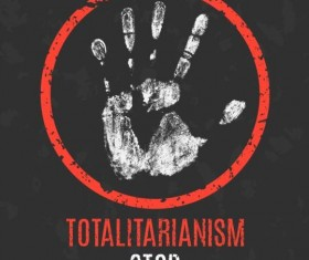 stop totalitarianism sign vector