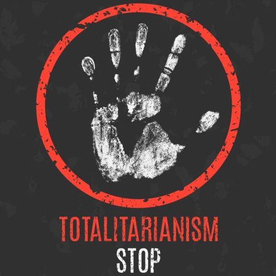 stop totalitarianism sign vector