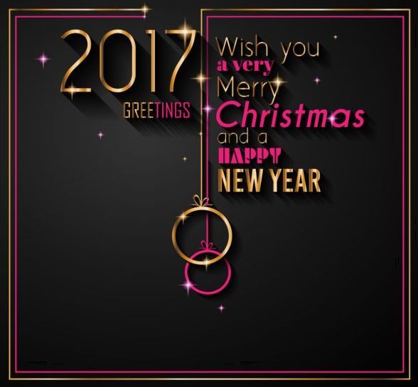 2017 gold new year with dark background vector