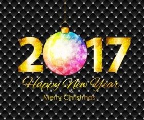 2017 New Year black background with diamond vector
