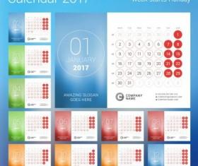 2017 calendar with round button vector 01