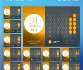2017 calendar with round button vector 02