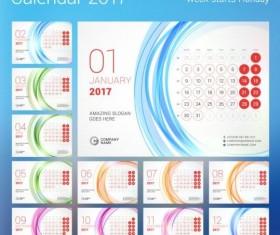 2017 calendar with round button vector 03