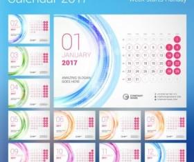 2017 calendar with round button vector 04