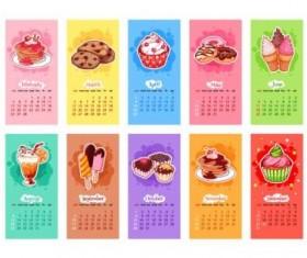 2017 calendar with sweet dessert vector material