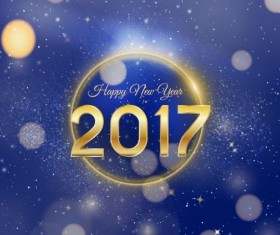 2017 happy new year with blue halation background vector
