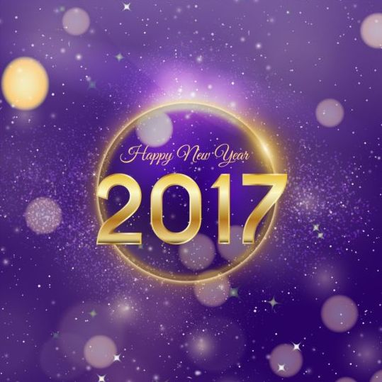 2017 happy new year with purple halation background vector