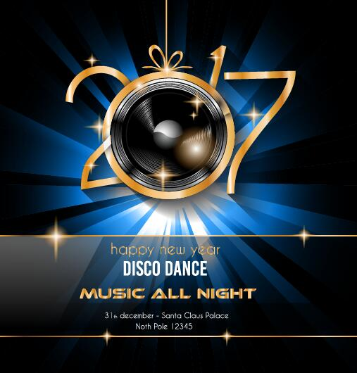 New Year Disco Party Flyer Template Vector  Vector Cover