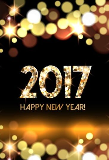 2017 new year with gold light background vector 05