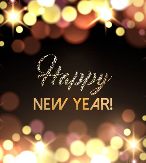 2017 New Year With Gold Light Background Vector 06