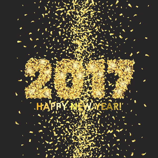2017 new year with golden confetti black background vector