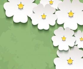3d flower sakura with green grunge background vector 01