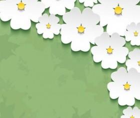 3d flower sakura with green grunge background vector 02
