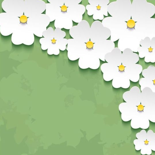 Spring Flower With Green Background Vector 02 Free Download: 3d Flower Sakura With Green Grunge Background Vector 02