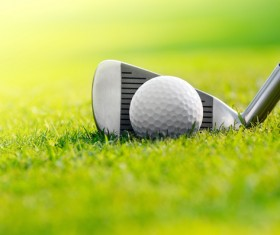 A golf club on a golf course Stock Photo 01