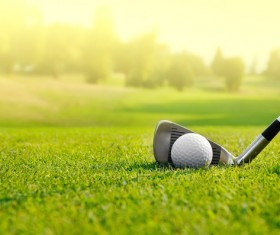 A golf club on a golf course Stock Photo 02