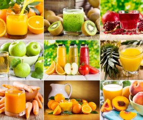 A variety of fresh fruits and juices Stock Photo