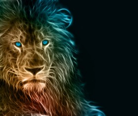 Abstract Artistic lion and black background 01