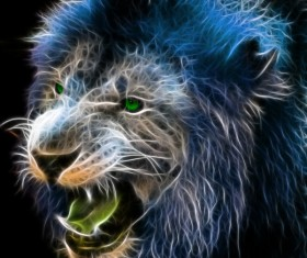 Abstract Artistic lion and black background 02