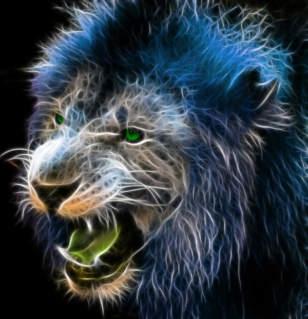 Fractal digital fantasy art of a lion on a isolated background ... on