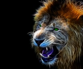 Abstract Artistic lion and black background 03