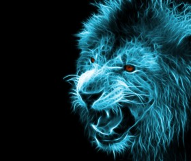 Abstract Artistic lion and black background 04