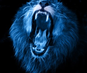 Abstract Artistic lion and black background 06
