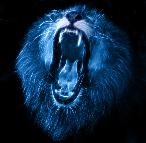 White lion with blue background logo - photo#43