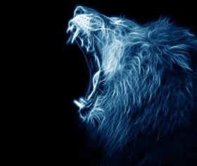 Abstract Artistic lion and black background 07
