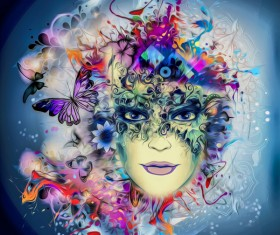 Abstract man with a mask and butterflies