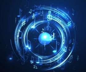 Abstract music background blue style vector 08