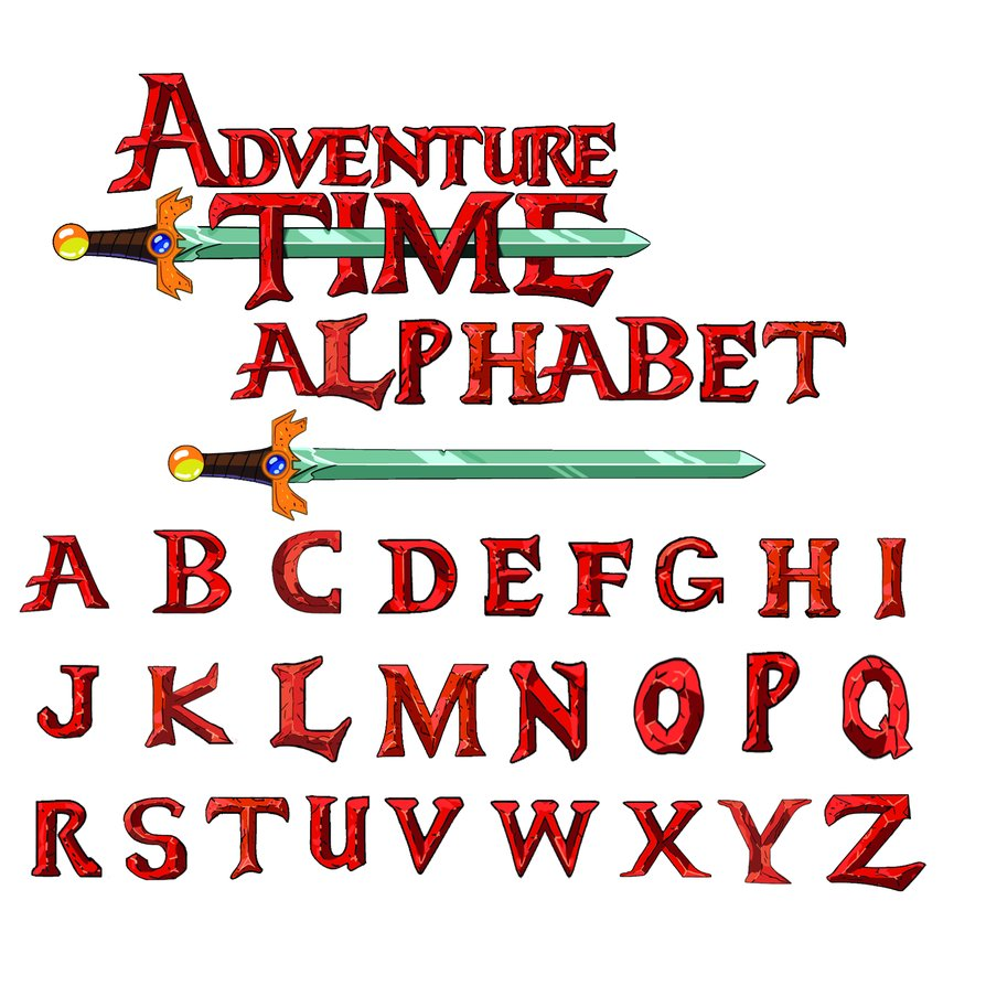 Adventure time alphabet PSD styles