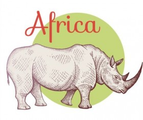 Africa rhinoceros vector 01