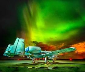 Aircraft and Arctic Aurora