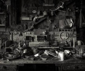 Antique tools on old workbench
