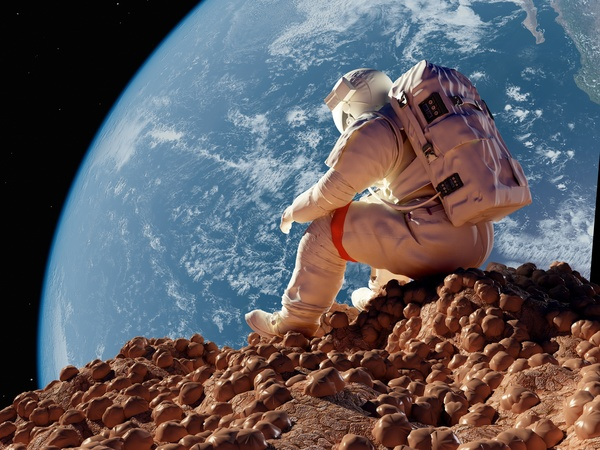 Astronauts sitting on the moon watching the earth