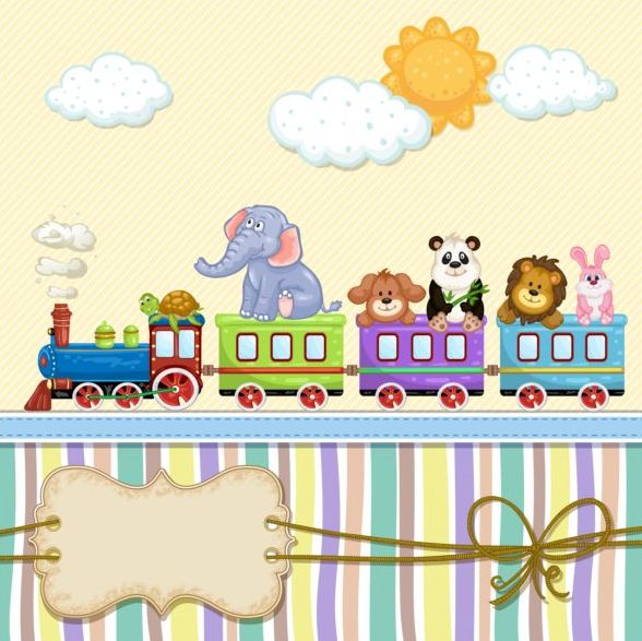 Baby shower cards with cute animals vector 11