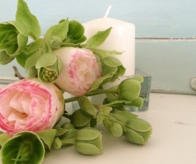 Beautiful Camellia flowers and candles Stock Photo 1