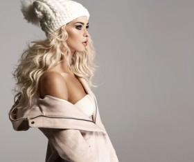 Beautiful blonde fashion model Stock Photo
