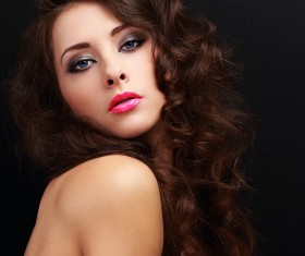 Beautiful curly hair woman elegant makeup 01