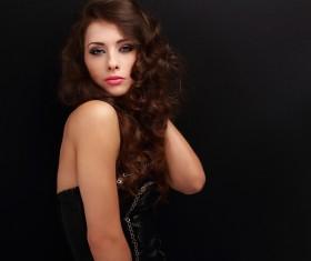 Beautiful curly hair woman elegant makeup 02